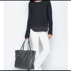Joie Grey Wool Sweater with Shirt Hem